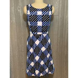 Talbots Black & Blue Stretch Dress Size 10 NWT